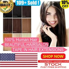 16''18''20''22''24'' 100% Human Hair Seamless Tape-in Extensions Remy Best USA