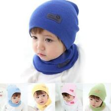 Fashion Baby Boys Girls Children Cotton  Hat + Scarf Suit Candy Colored Hats Cap