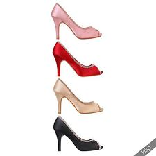 Womens Diamante Open Peep Toe High Heel Court Shoes Pumps Formal Party Wedding