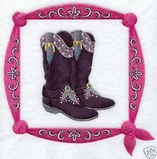 WESTERN BOOTS SQUARE ---MACHINE EMBROIDERED QUILT BLOCK