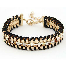 Fashion Cuff Jewelry Bangle Woven Leather Wrap Rhinestone Wrist Thick Bracelet