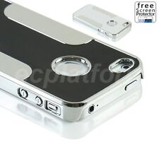 Brushed Aluminum Back Metal Chrome PC Hard Case Cover for Apple iphone 4s 4