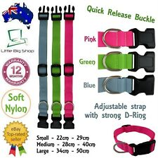 New Dog Collar Pet Puppy Cat Adjustable Nylon attach lead leash Pink Blue Green