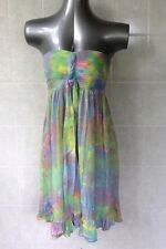 Strapless Tie Dye Mini Dress Pleated Bust and Shirred Elastic Back Sz 10 Various