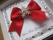 Handmade Personalised Christmas Card with Diamante Snowflake-With/Without Box