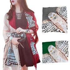 Owl Print Scarf Neck Warm Soft Stole Wrap Shawl Pashmina Women Lady Fashion I9HP