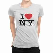 I Love NY New York Womens T-Shirt Spandex Tee Heart White