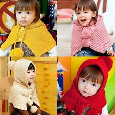 Lovely Baby Girls Boys Knitting Hat Cape Coat Pom Pom Ball Scarf Top Button JS7T