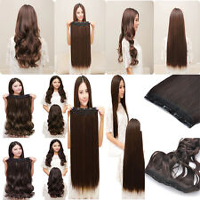Women 3/4 Full Head Clip In Hair Extension Curly Wavy Straight Hair 5 Clips Long