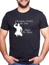 CHOCOLATE ADDICT BY DAY NINJA BY NIGHT PERSONALISED T SHIRT