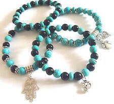 new turquoise / onyx gemstone bracelet various designs elasticated charms