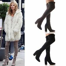 LADIES WOMENS LONG LEG BOOTS OVER THE KNEE STRETCH FITTED HIGH HEEL FASHION SIZE