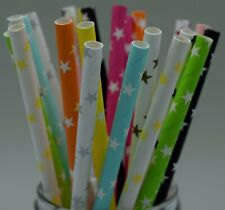 25 Retro Vintage Star Paper Drinking Straws *BUY 3 GET 1 FREE*  UK