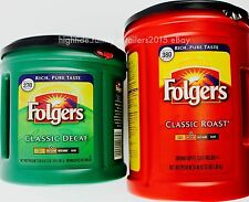 Folgers Ground Coffee 100% Arabica, Medium Classic Roast 48 oz or Decaf 33.9 oz