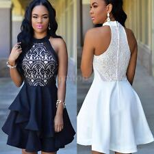 Slim Lace Sleeveless Skater Dress Women Ladies Halter Neck Swing Dresses UO9M