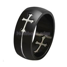 UNISEX Goth Punk Silver Cross Crucifix On Black Stainless Steel band Finger Ring