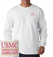 US Marine Corps USMC EMBROIDERED White Long Sleeve Heavy Cotton T-Shirt