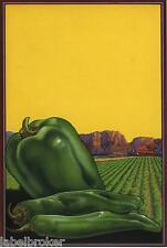 CRATE LABEL VINTAGE STOCK PEPPERS COMMERCIAL ART 1940S ORIGINAL 7X9 ADVERTISING