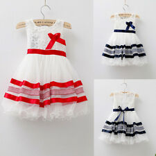 Baby Kids Girls Princess Tutu Birthday Party Lace Bubble Tulle Dress 2~7Y