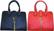 Quilted Faux Leather Tassel Gold Chain Cross Body Handbag Evening Bag Black/Red
