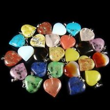 wholesale assorted natural gemstone loose beads heart pendant stone jewelry DIY