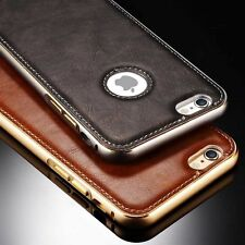 Luxury Leather Back Aluminum Bumper Case Cover For Apple iPhone 5/5S/6/6 Plus