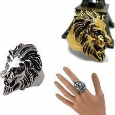 Stainless Steel New Lion's Head Ring Men Vintage Cool Ring American Size 8-10 TB