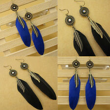 1Pair New Fashion Lady Feather Leaves Earrings Dangle Style Studs Earrings Charm