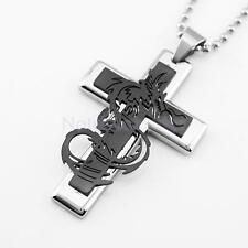 Cross Dragon Punk Rock Stainless Steel Necklace Cross Pendant Chain Jewelry Gift