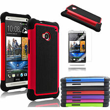 For New HTC One M8 Hybrid Combo Shockproof Rubber Hard Impact Case Cover+Film