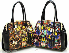 Women Ladies Designer Celebrity Patent Key West Butterfly Shoulder Tote Handbag