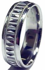 MEN 14K WHITE GOLD WEDDING BAND RING 7MM WIDE COMFORT FIT DIAMOND CUT BRAND NEW