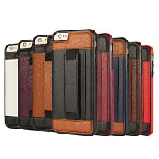 Luxury Leather Card Slot Rubber Stand Back Cover Case For iPhone/Samsung Galaxy