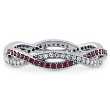 BERRICLE Sterling Silver Swarovski Zirconia Woven Right Hand Eternity Band Ring
