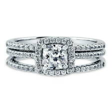 BERRICLE Sterling Silver 0.85 Carat Cushion CZ Halo Engagement Ring Set