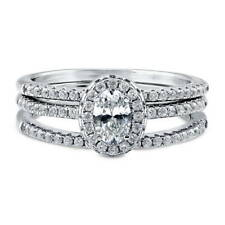 BERRICLE Sterling Silver Oval CZ Halo Engagement Stackable Ring Set 0.8 Carat