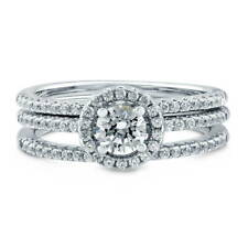 BERRICLE Sterling Silver 0.84 Carat Swarovski Zirconia Halo Engagement Ring Set