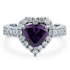 BERRICLE Sterling Silver Simulated Amethyst CZ Halo Heart Engagement Ring