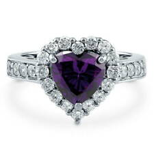 Silver Heart Shaped Simulated Amethyst CZ Halo  Engagement Ring 2.43 CT
