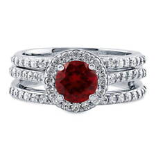 BERRICLE Sterling Silver Simulated Ruby CZ Halo Engagement Ring Set 1.84 Carat