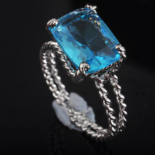 Amazing Twinkling Fashion Jewelry Blue Topaz S80 Silver Gemstone Ring size 6~9