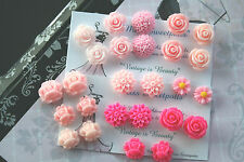 Pink Rose Flower Earrings - Rockabilly Flower Rose Earrings Studs / Clip-Ons