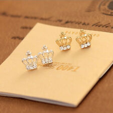 2 Pairs/4pcs HOT Sale Crown Earrings With Crystal Stud Earrings Xmas Gift Party