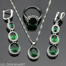 Round Green Emerald Jewelry Set Women 925 Silver Necklace Pendant Earrings Ring
