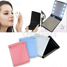 Hot Make Up Mirror Cosmetic Folding Portable Compact Pocket with 8 LED Lights LE