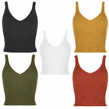 Womens Sleeveless Cami Strappy Knitted Bodycon Ribbed Vest Top