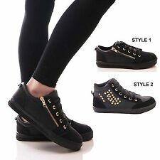 LADIES WOMENS BLACK TRAINERS FLAT CASUAL LACE UP FASHION SNEAKERS SHOES SIZE