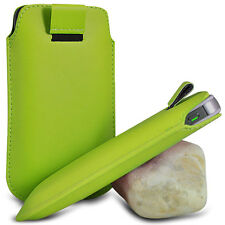 VARIOUS MOBILE PHONE GREEN PU LEATHER PULL TAB POUCH CASE COVER HOLSTER SKIN