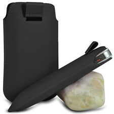 VARIOUS MOBILE PHONE BLACK PU LEATHER PULL TAB POUCH CASE COVER HOLSTER SKIN