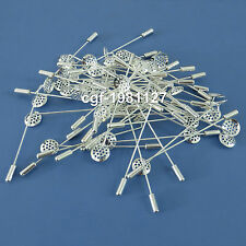 Lapel Pin Hardware Metal 12mm Shower Head 70mm Long Setting Brooches Boutonniere